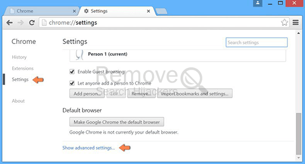Remove searchadventure.net from Chrome